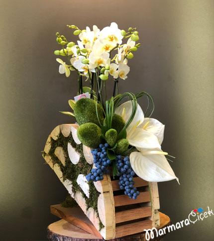 Ahþapta Bougetto Orkide Aranjamný