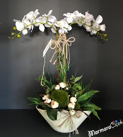 Çiftli Orkide Aranjman Yapay