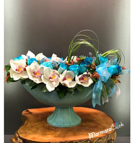 Mavi Gül Orkideli Aranjman