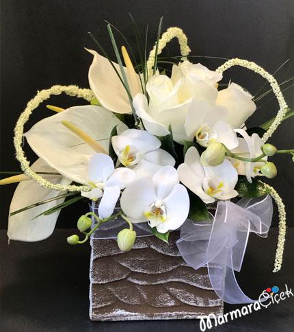 Seramikte Orkide&Gül Aranjman