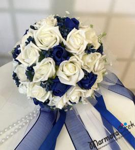 Mavi&Beyaz Yapay Gelin Buketi