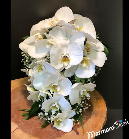 Canlý Orkideli Gelin Buketi