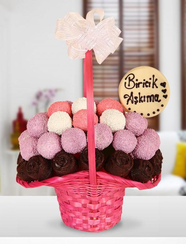 Pink Basket Kek sepeti
