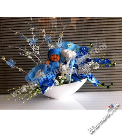 Seramikte Bebekli Yapay Çiçek