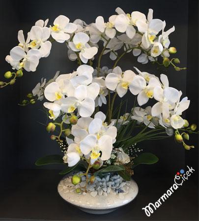 Yapay Beyaz Orkideler