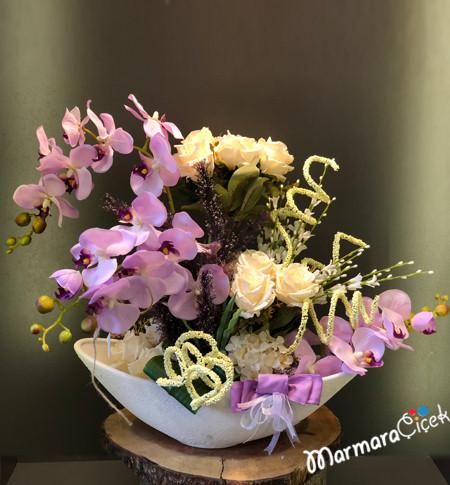 Yapay Lila Orkideli Aranjman